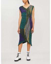 Issey Miyake Contrast-stripe Pleated Crepe Dress - Green