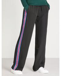 SERENA BUTE LONDON Classic Side-stripe Silk Jogging Bottoms - Blue