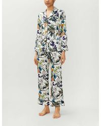 Olivia Von Halle Lila Eden Floral-print Silk-satin Pyjama Set - Multicolour