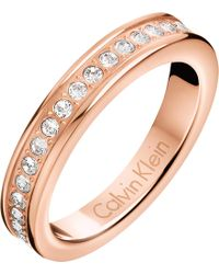 CALVIN KLEIN 205W39NYC - Hook Rose Gold-tone Pavé Crystal Ring - Lyst