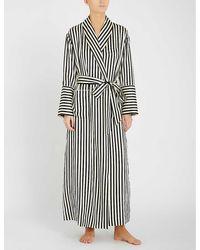 Olivia Von Halle Capability Stripe Print Robe - Multicolour