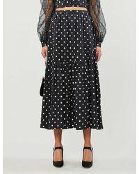 STAUD Polka Dot-print High-waisted Stretch-cotton Midi Skirt - Black
