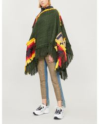 Sacai - Patchwork-embroidered Woven Cape - Lyst