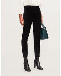 PAIGE - Hoxton Ankle Peg Skinny High-rise Velvet Trousers - Lyst