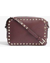 Valentino Rockstud Leather Cross-body Camera Bag - Purple