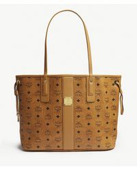 MCM - Brown Oversized Leather Tote Bag - Lyst