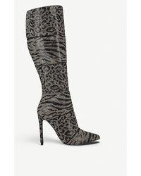 Steve Madden Winner Animal-print Leather Knee-high Boots - Black