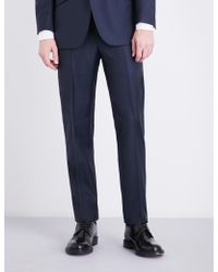 Richard James Checked Regular-fit Wool Trousers - Blue