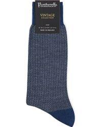 Pantherella - Finsbury Patterned Wool-blend Socks - Lyst