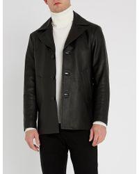 Sandro Donnie Leather Coat - Black