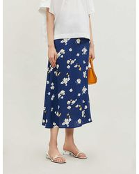 Reformation Bea Floral-print Crepe Midi Skirt - Blue