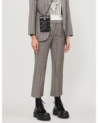 Zadig & Voltaire Posh Checked Cropped Tapered Wool Trousers - Grey