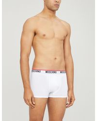 Moschino Mens White Pack Of Two Logo Embroidered Classic Fit Stretch Cotton Trunks