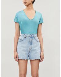 Zadig & Voltaire Hemp-leaf Graphic Cotton-jersey T-shirt - Blue