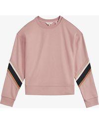 Ted Baker Jjordan Side-striped Cotton-blend Sweatshirt - Pink