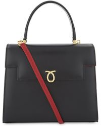 Launer Womens Black Body Traviata Leather Top Handle Bag One Size