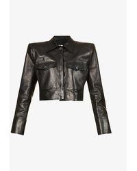 Magda Butrym Padded-shoulder Cropped Leather Jacket - Black