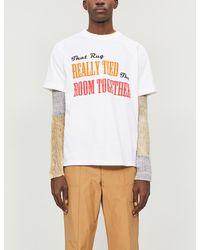 Sacai 'lebowski Together' Slogan Print T-shirt - White