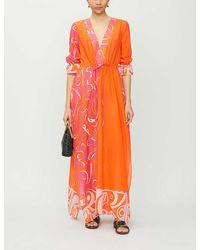 Emilio Pucci Graphic-pattern Cotton-and-silk Blend Kaftan - Orange
