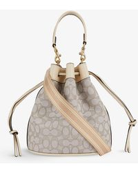 COACH Field Leather And Jacquard Bucket Bag - Multicolour