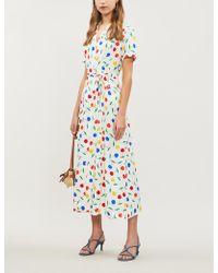 HVN Long Maria Cherry-print Silk Shirt Dress - Multicolour