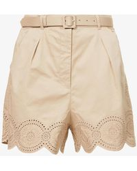 Self-Portrait Broderie-embroidered High-rise Cotton Shorts - Multicolour