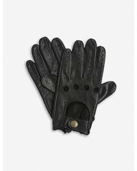Dents Mens Black Leather Driving Gloves