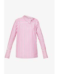 Victoria, Victoria Beckham Striped Loose-fit Cotton-poplin Shirt - Pink
