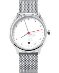 Mondaine - Mh1-r2211-sm Helvetica Spiekermann Edition Regular Stainless Steel Watch - Lyst