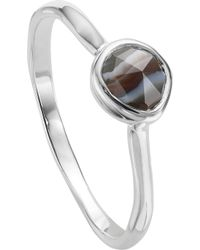 Monica Vinader - Siren Sterling Silver And Black Line Onyx Small Stacking Ring - Lyst