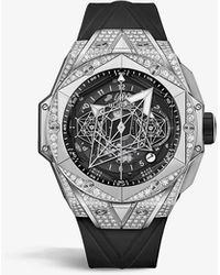 Hublot 418.nx.1107.rx.1604.mxm20 Big Bang Unico Sang Bleu Ii Titanium, Diamond And Rubber Self-winding Watch - Black