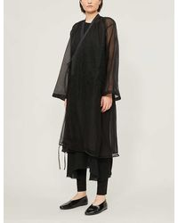 Renli Su Loose-fit Flared-sleeves Lace Coat - Black