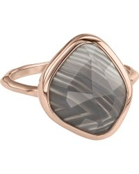 Monica Vinader - Siren 18ct Rose Gold Vermeil And Grey Agate Nugget Stacking Ring - Lyst