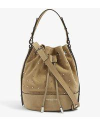 The Kooples Tina Stud-embellished Suede Bucket Bag - Multicolour