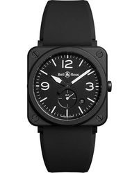 Bell & Ross Mens Sapphire Brsblcem Aviation Ceramic And Rubber Watch S - Blue
