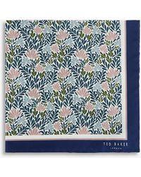 Ted Baker Floral-print Silk Pocket Square - Blue