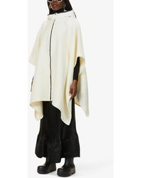 Moncler Mantella Hooded Wool-blend Cape - White