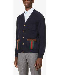 Gucci Stripe-trimmed Wool-blend Cardigan - Blue