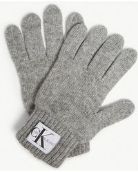 Calvin Klein - Logo Knitted Wool-blend Gloves - Lyst