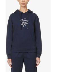 Tommy Hilfiger Logo-print Organic Cotton-blend Hoody - Blue