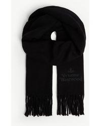 Vivienne Westwood Orb Logo Tasseled Wool Scarf - Black