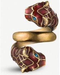 Gucci Tiger Enamelled And Swarovski Crystal-embellished Wraparound Metal Ring - Metallic