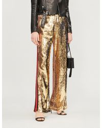 SERENA BUTE LONDON - Mid-rise Sequinned Wide-leg jogging Bottoms - Lyst