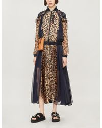 Sacai Leopard-print Chiffon Maxi Dress - Natural