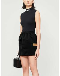 Heron Preston Drawstring Woven Mini Skirt - Black