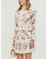 Zimmermann Honour Floral-patterned Cotton Mini Skirt - Natural