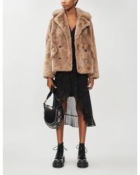 The Kooples Double-breasted Faux-fur Jacket - Multicolour