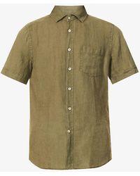 Slowear Mens Green Relaxed-fit Short-sleeved Linen Shirt 15