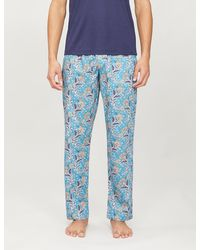 Zimmerli Floral-print Cotton Pyjama Bottoms - Blue