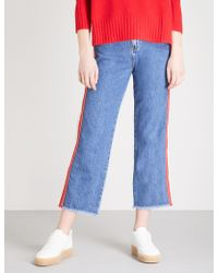 Whistles | Striped-trim High-rise Cropped Jeans | Lyst